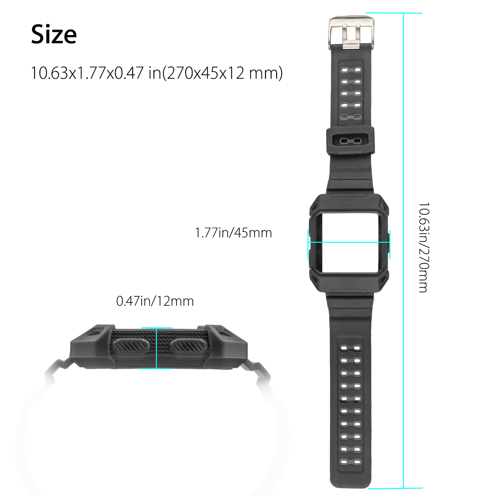 Black-Armor-For-Fitbit-Ionic-Rugged-Band-Protective-Case-Large-Wristband-Strap thumbnail 10