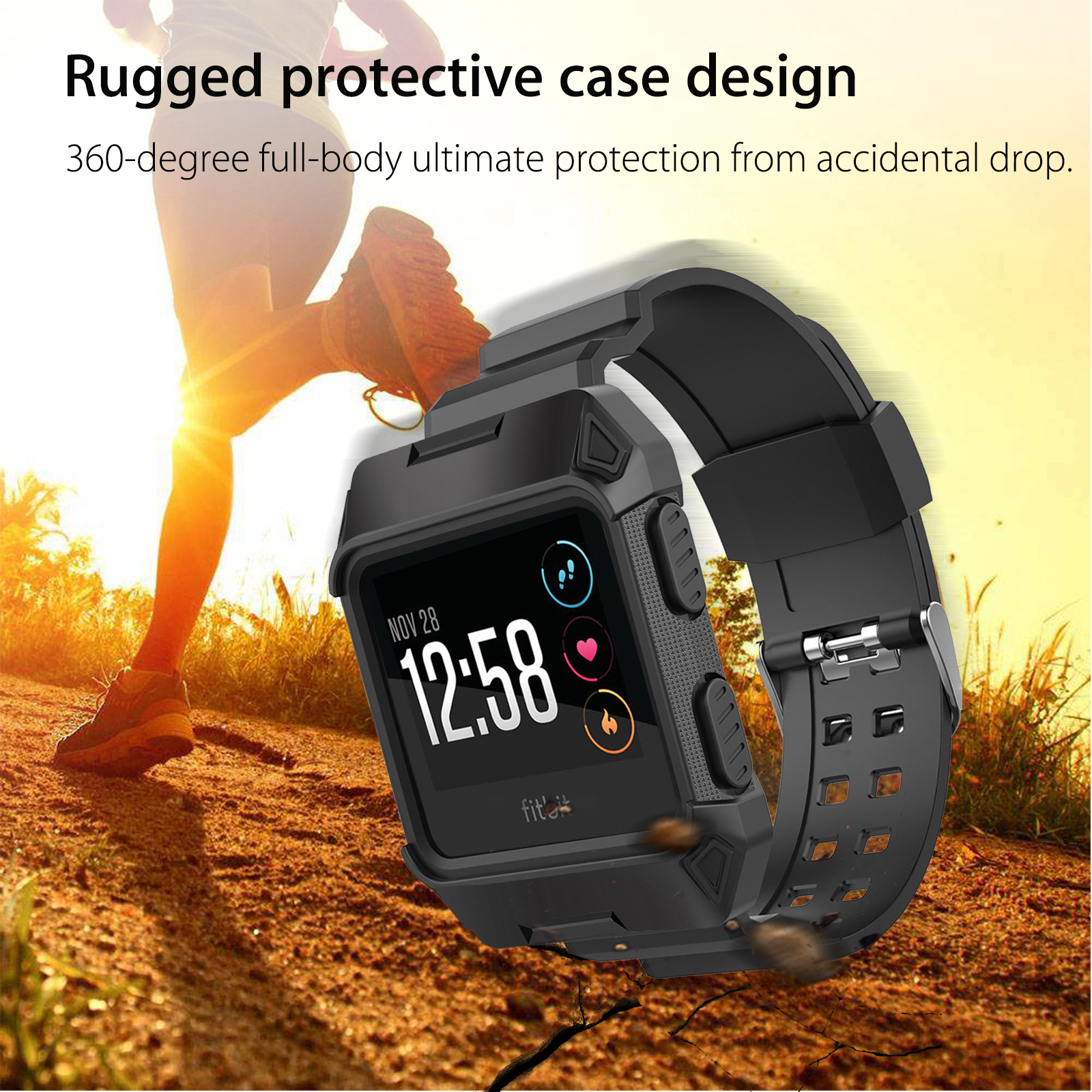 Black-Armor-For-Fitbit-Ionic-Rugged-Band-Protective-Case-Large-Wristband-Strap thumbnail 3