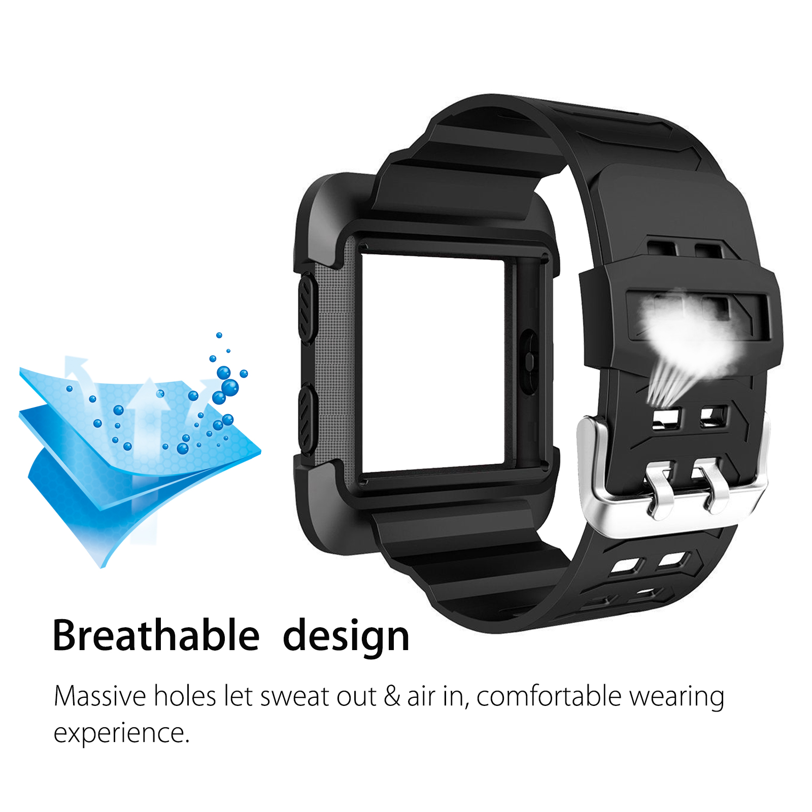 Black-Armor-For-Fitbit-Ionic-Rugged-Band-Protective-Case-Large-Wristband-Strap thumbnail 5