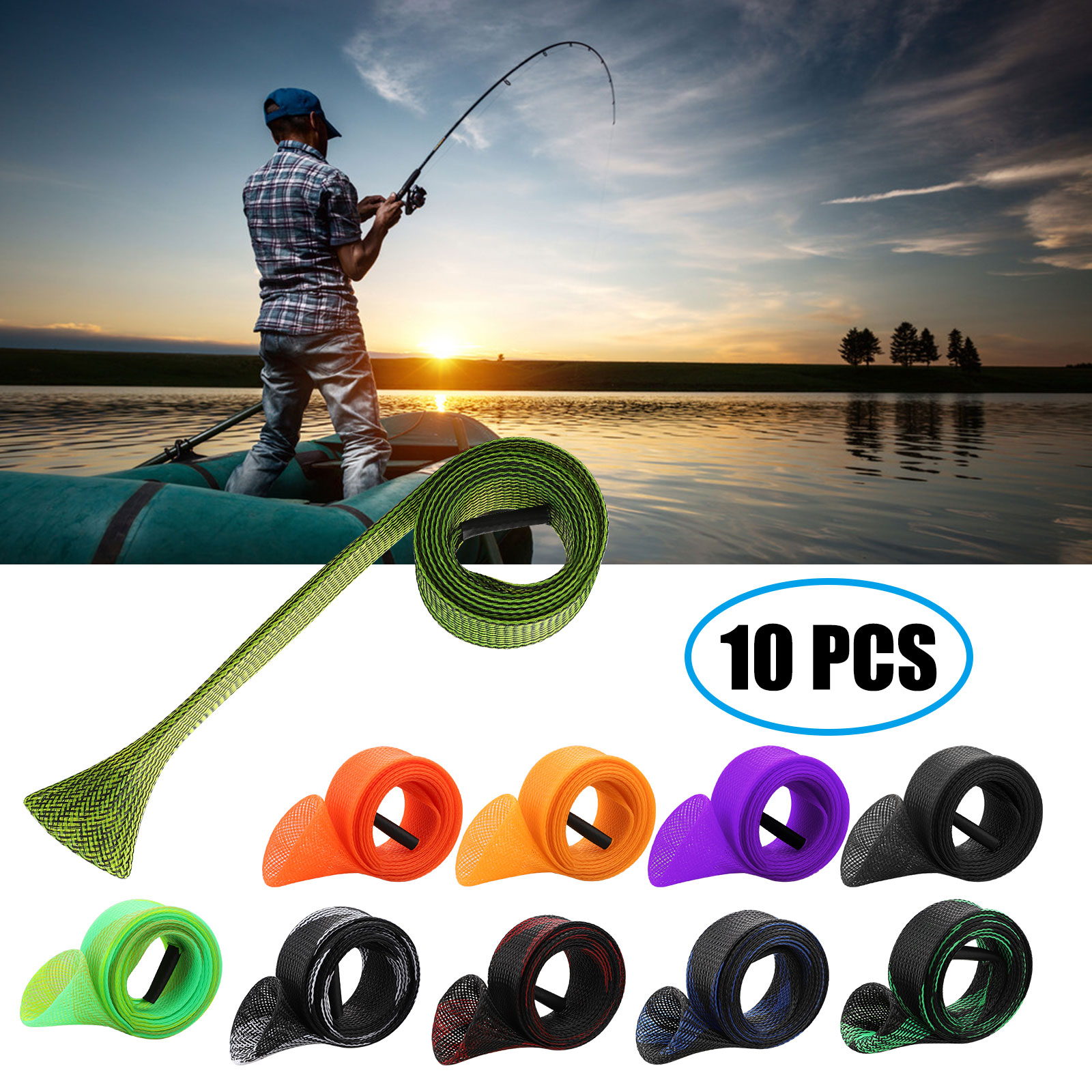 1-10x Spinning Casting Fishing Rod Sleeve Cover Pole Tip Protector Bag Tube Case