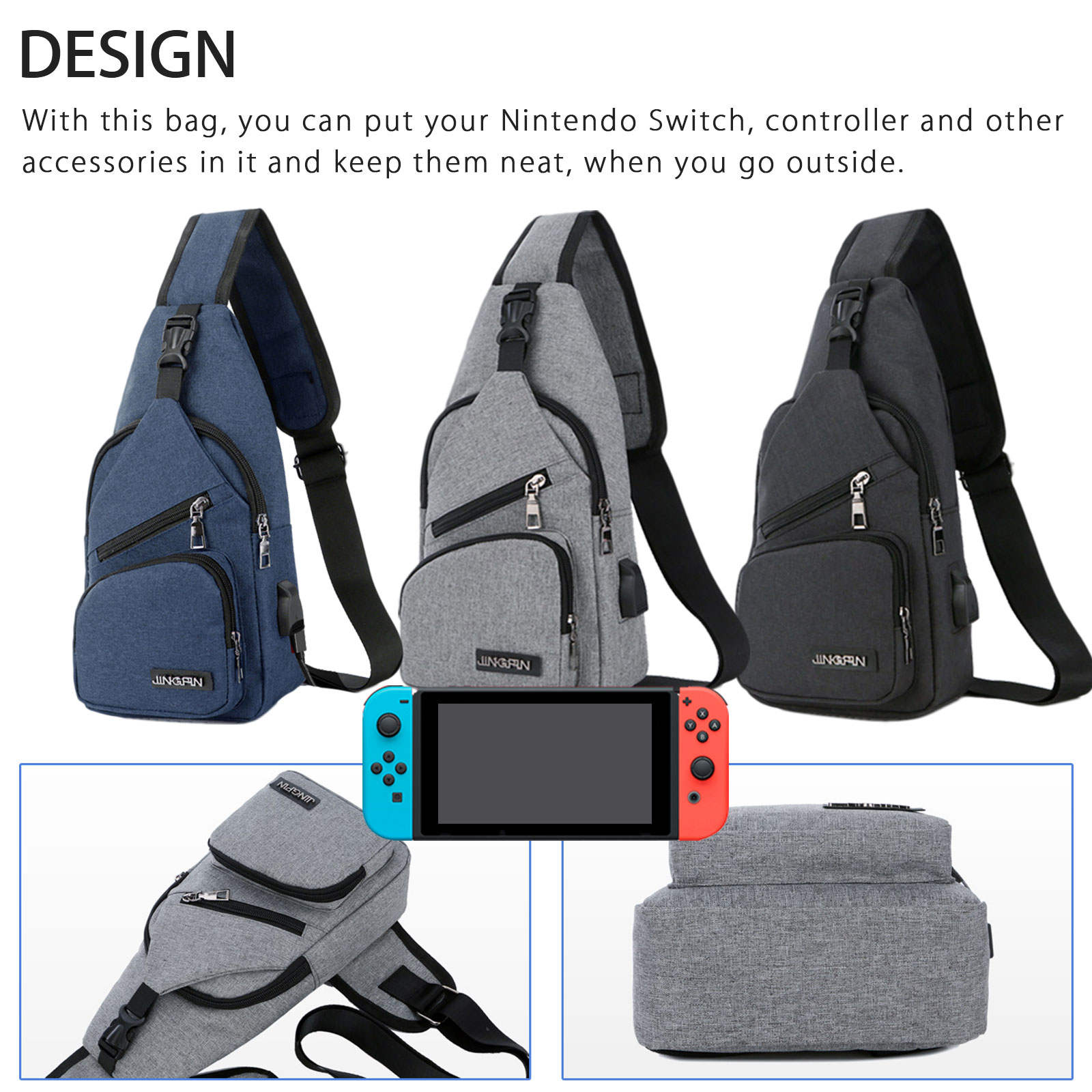 Backpack-Crossbody-Travel-Bag-For-Nintendo-Switch-Console-Joy-Cons-Accessories thumbnail 3