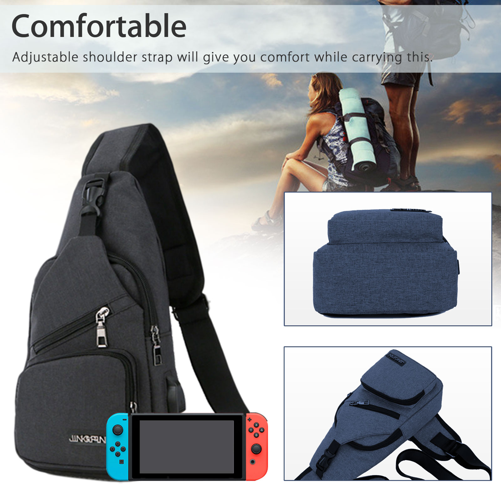 Backpack-Crossbody-Travel-Bag-For-Nintendo-Switch-Console-Joy-Cons-Accessories thumbnail 7
