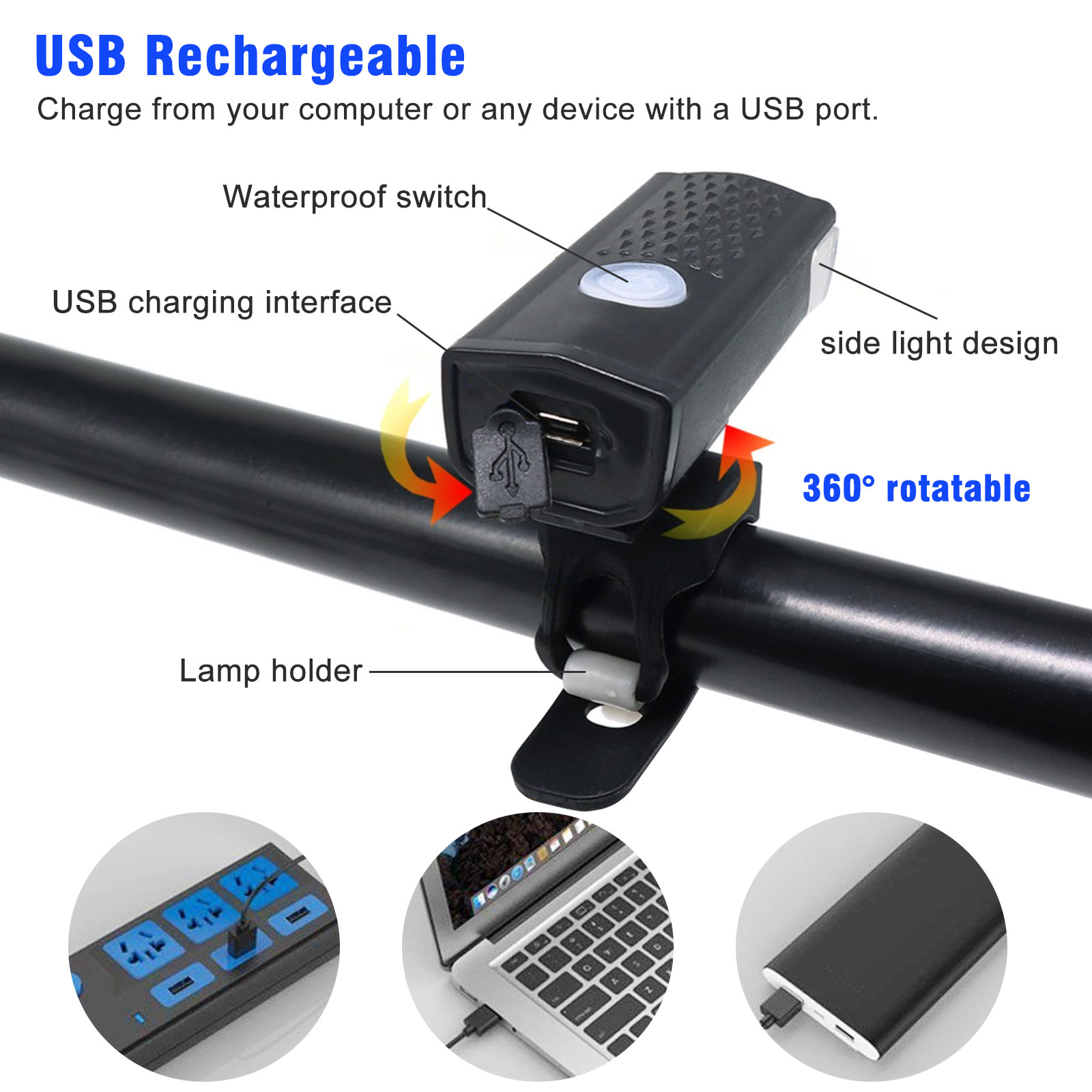 thumbnail 38 - LED-USB-Rechargeable-Bycicle-Light-Headlamp-Headlight-Bike-Front-Rear-Lamp-3Mode