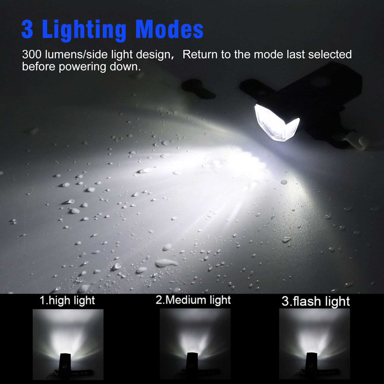 thumbnail 42 - LED-USB-Rechargeable-Bycicle-Light-Headlamp-Headlight-Bike-Front-Rear-Lamp-3Mode