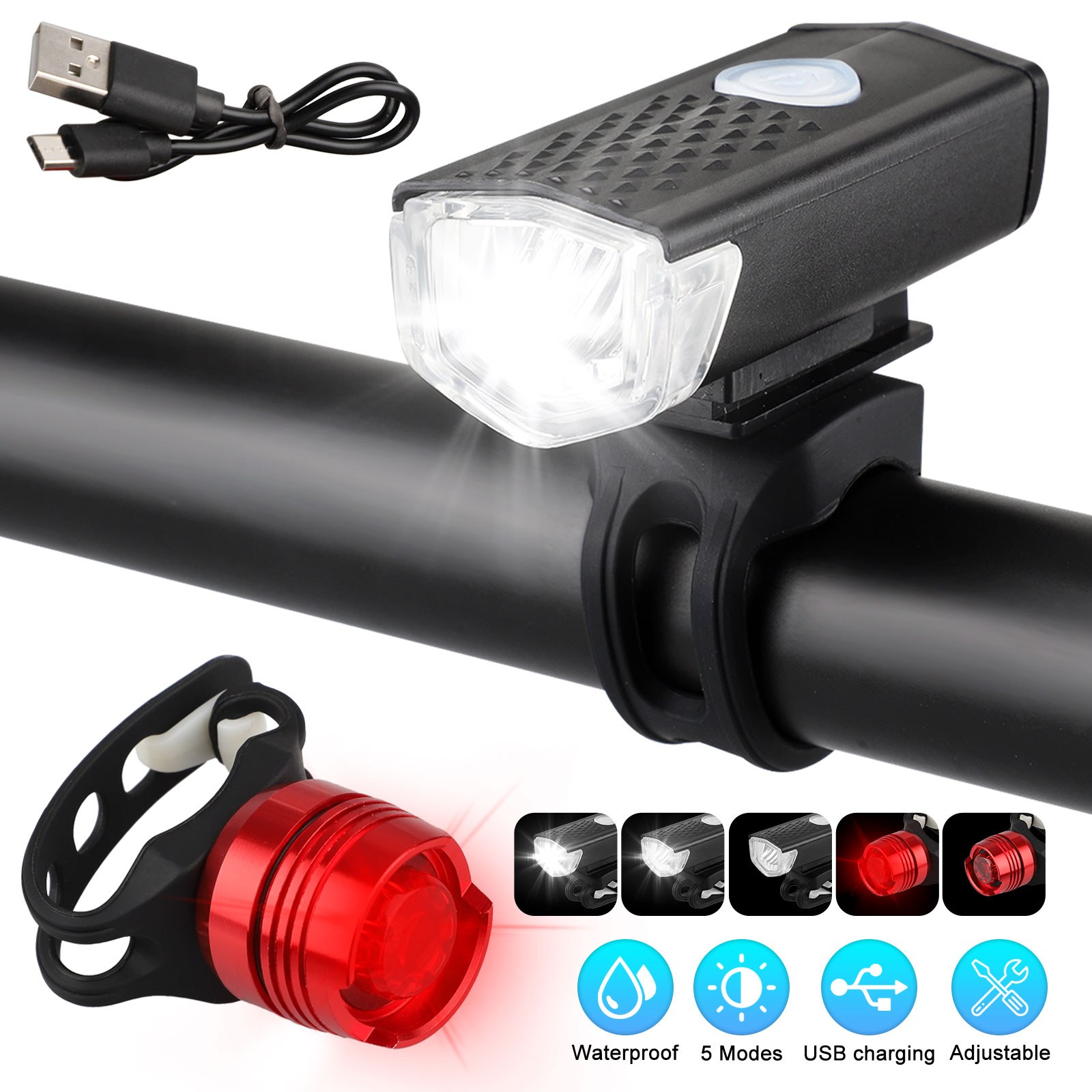 LED-USB-Rechargeable-Bycicle-Light-Headlamp-Headlight-Bike-Front-Rear-Lamp-3Mode