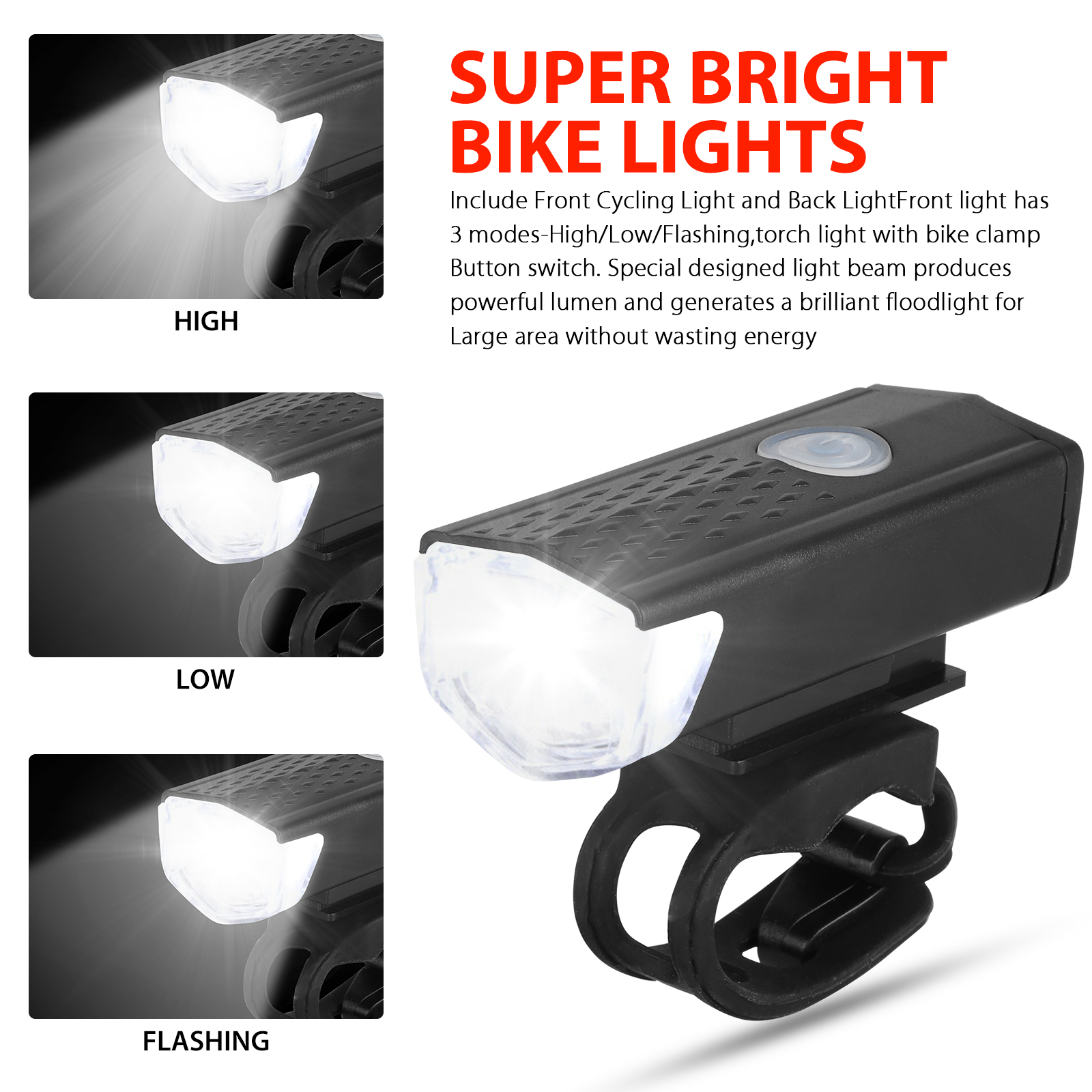 thumbnail 2 - LED-USB-Rechargeable-Bycicle-Light-Headlamp-Headlight-Bike-Front-Rear-Lamp-3Mode