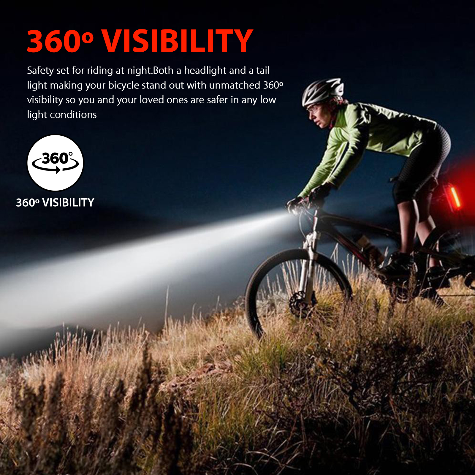 thumbnail 3 - LED-USB-Rechargeable-Bycicle-Light-Headlamp-Headlight-Bike-Front-Rear-Lamp-3Mode