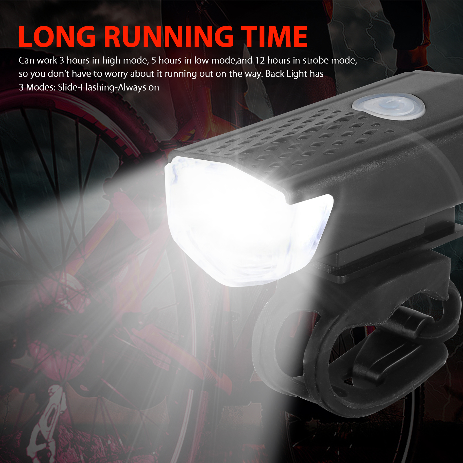 thumbnail 4 - LED-USB-Rechargeable-Bycicle-Light-Headlamp-Headlight-Bike-Front-Rear-Lamp-3Mode