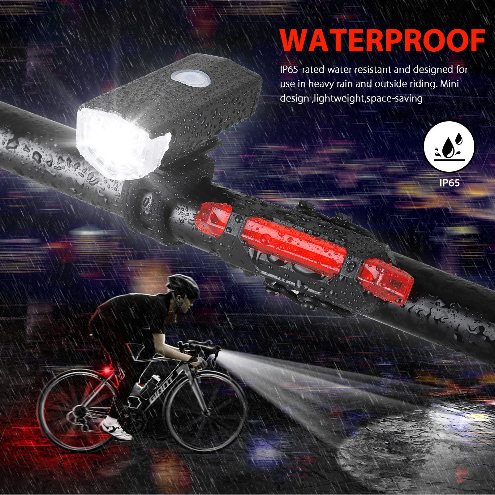 thumbnail 6 - LED-USB-Rechargeable-Bycicle-Light-Headlamp-Headlight-Bike-Front-Rear-Lamp-3Mode