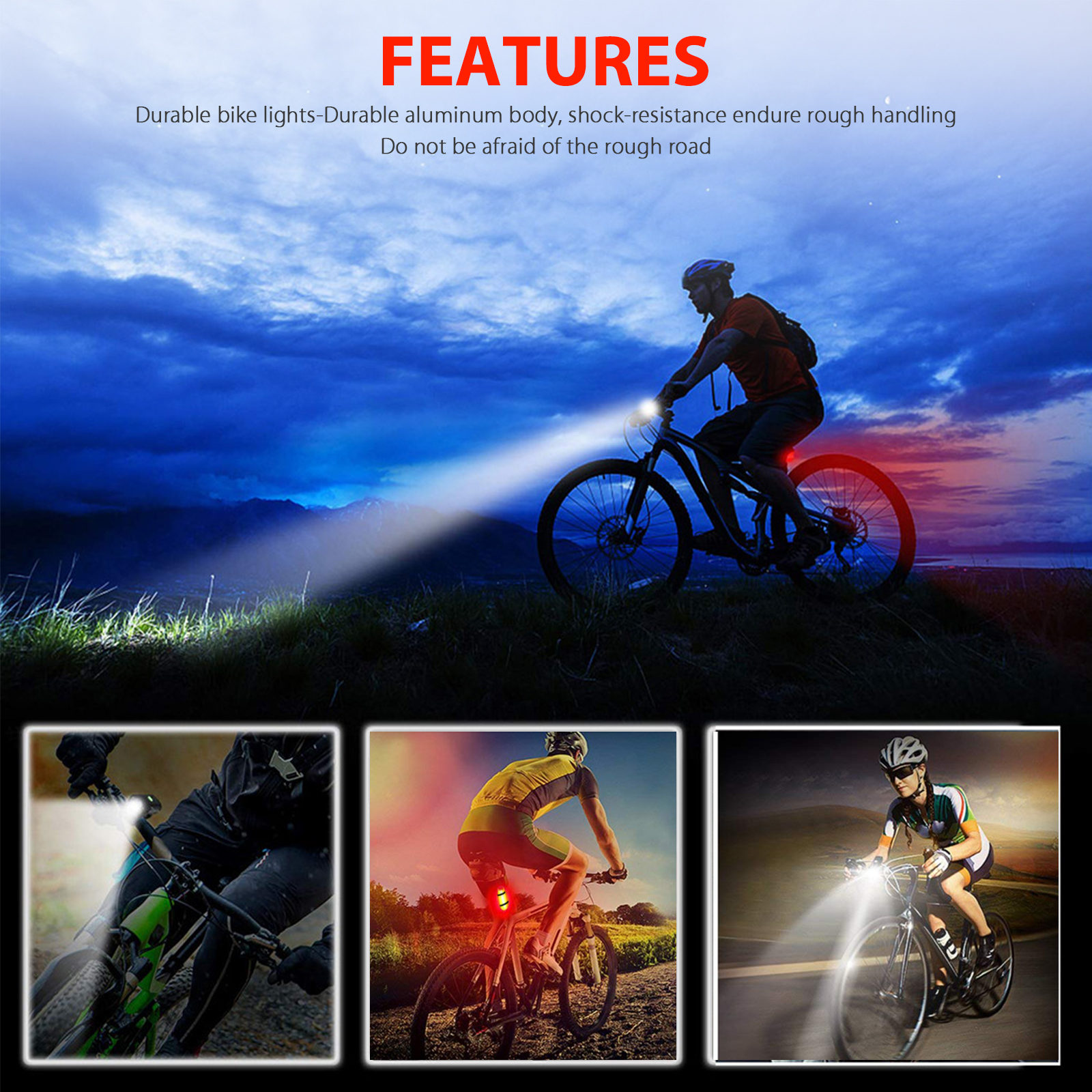 thumbnail 9 - LED-USB-Rechargeable-Bycicle-Light-Headlamp-Headlight-Bike-Front-Rear-Lamp-3Mode