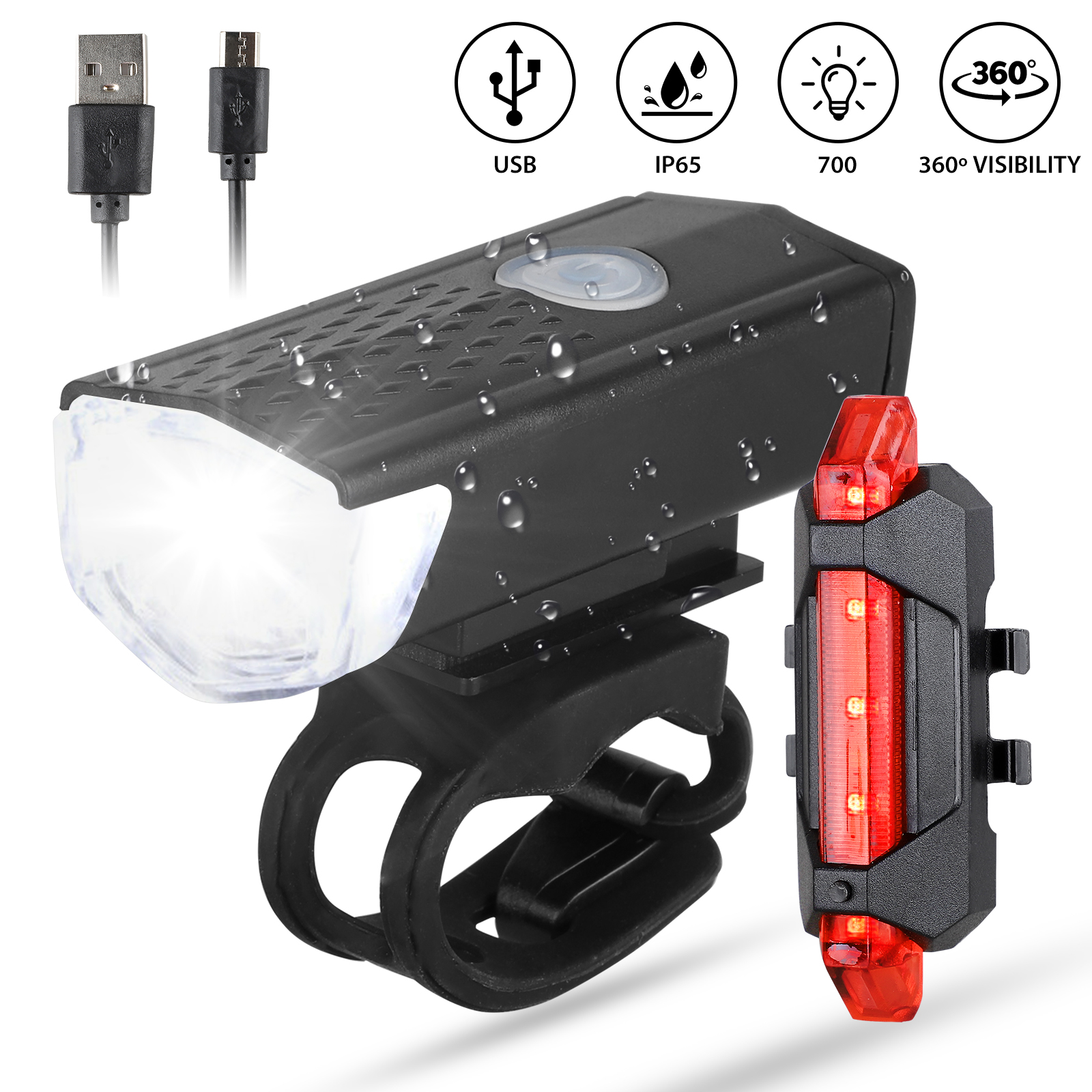 usb rechargeable 2 led mtb bicycle headlight