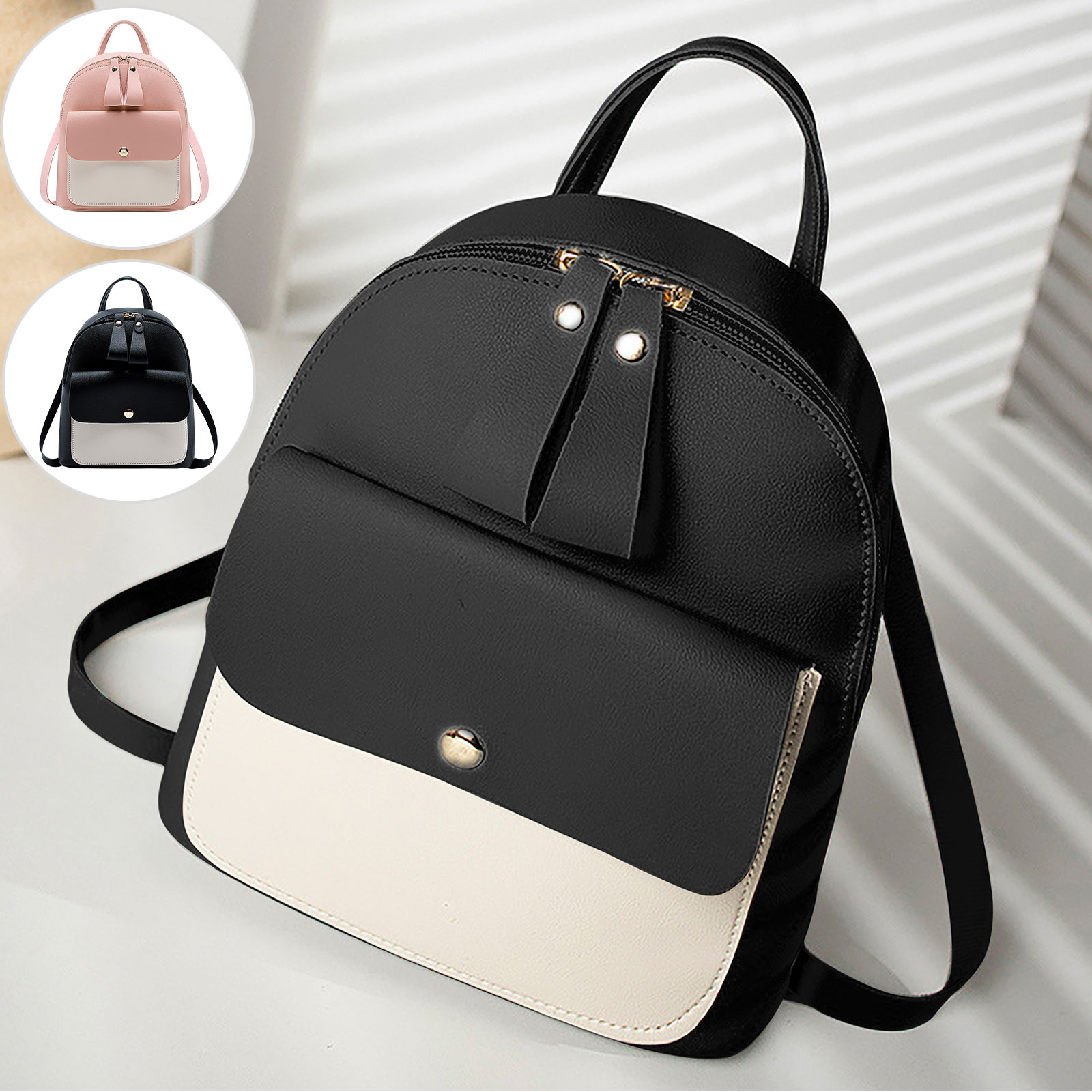 US Women Girls School Bag PU Leather Backpack Mini Rucksack