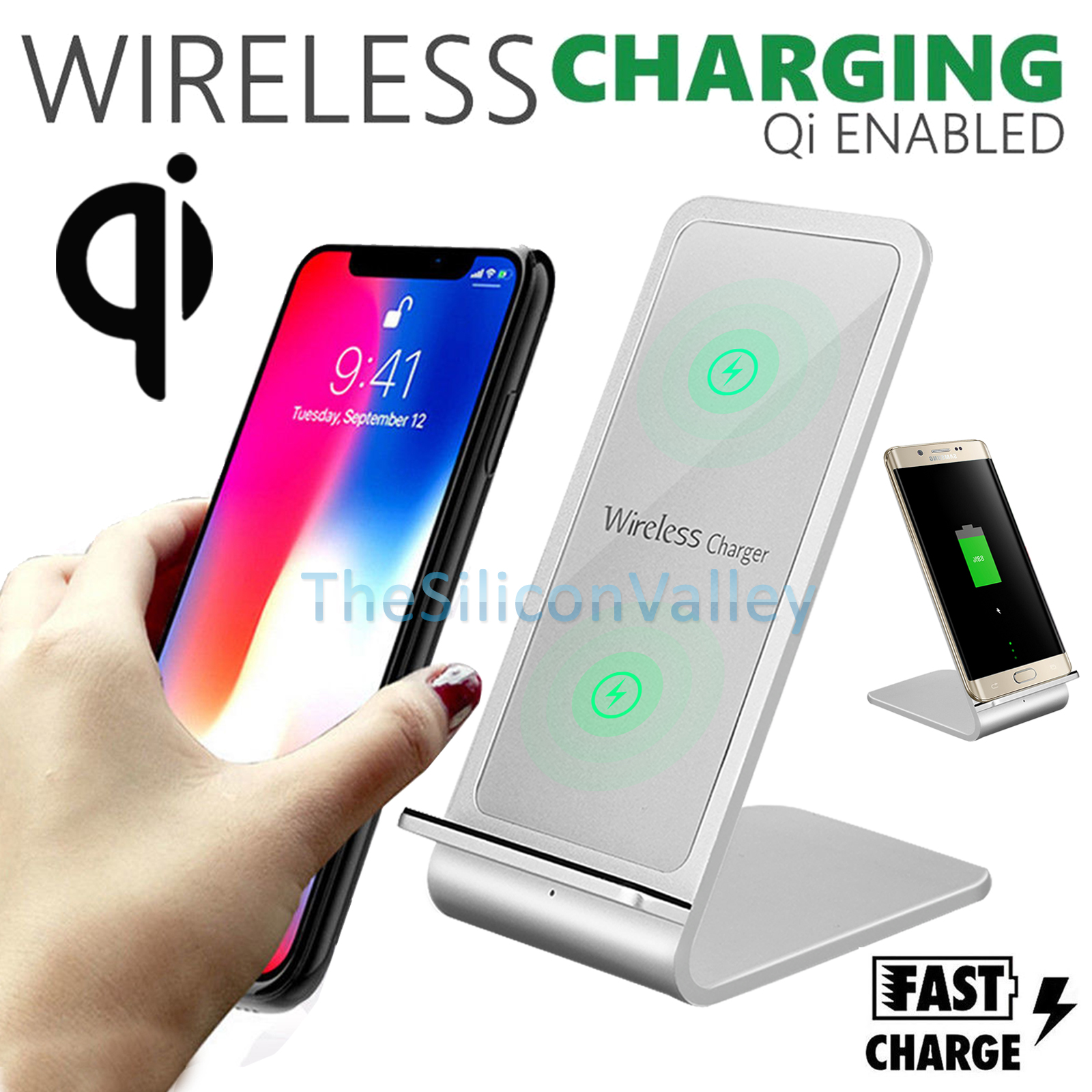 fast qi wireless charger stand charging dock pad for samsung note s8 iphone x 8 ebay. Black Bedroom Furniture Sets. Home Design Ideas