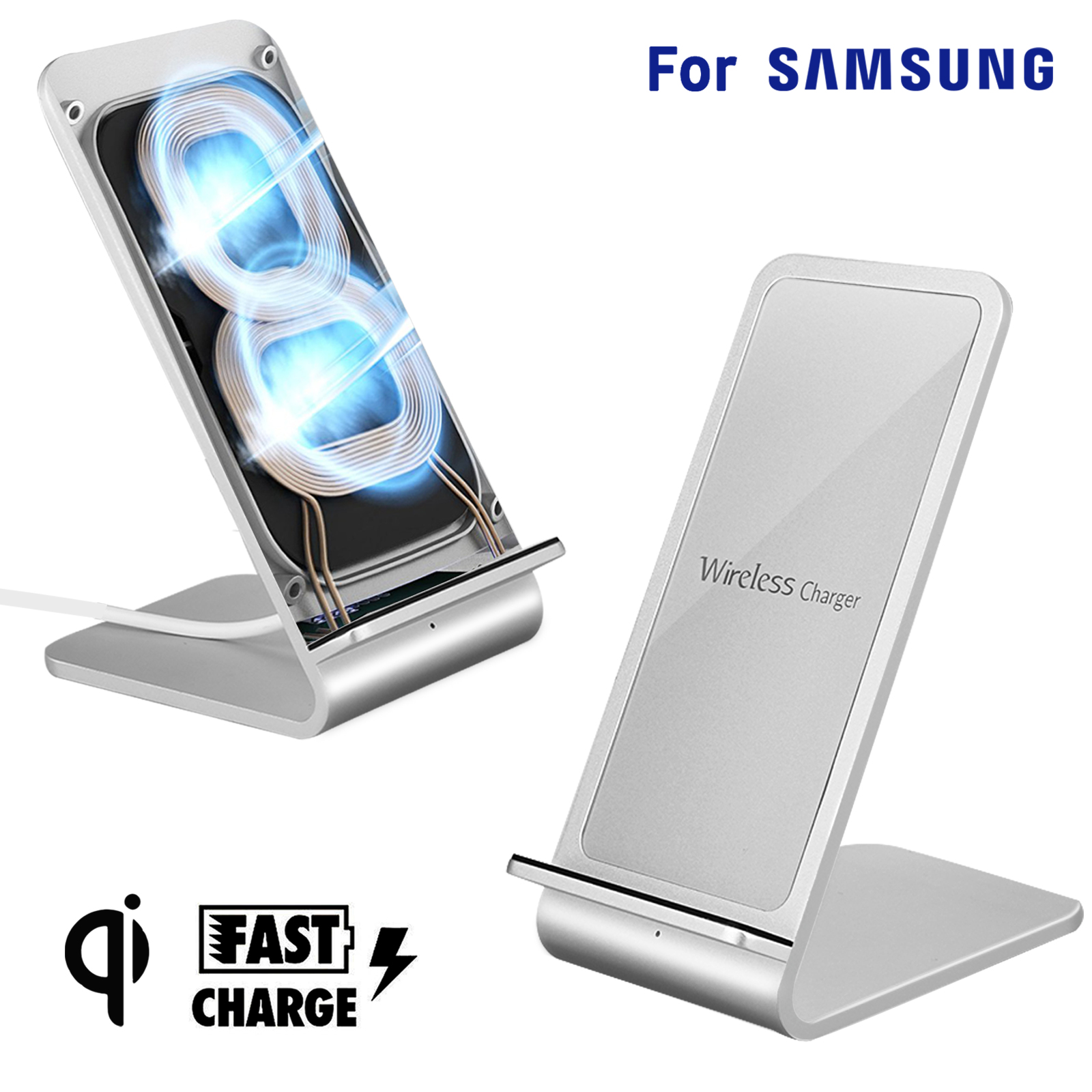 fast qi wireless charger stand charging dock pad for. Black Bedroom Furniture Sets. Home Design Ideas