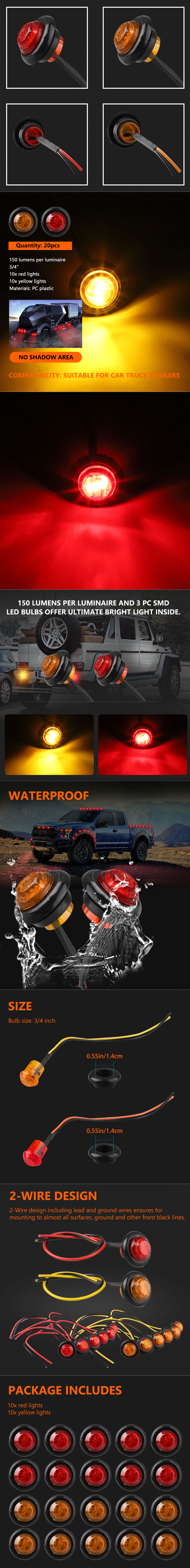 20x 3  4 U0026quot  Inch Amber Red 12v Led Clearance Marker Light