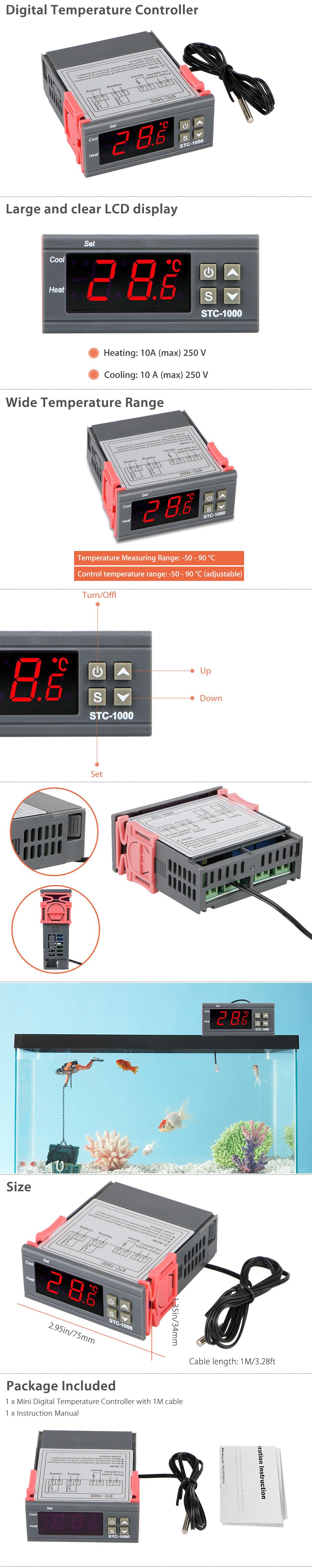 110v 220v Digital Stc 1000 All Purpose Temperature Controller Wiring Diagram Stc1000 Temp Brewing Equipment Gallery Product Description This Mini