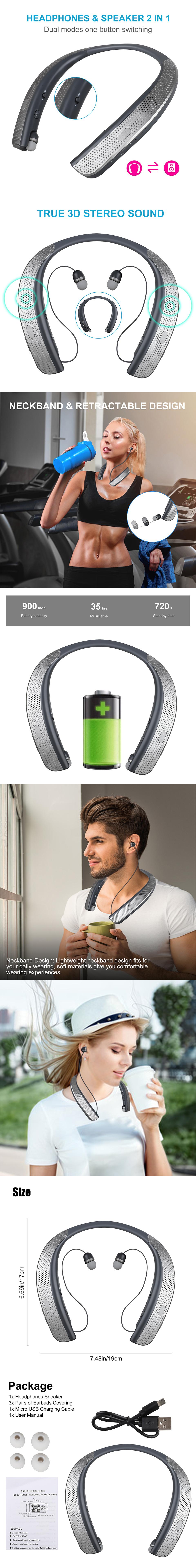 Bluetooth Neckband True 3D Stereo Headphones Headset Earbuds Speaker Earphone US