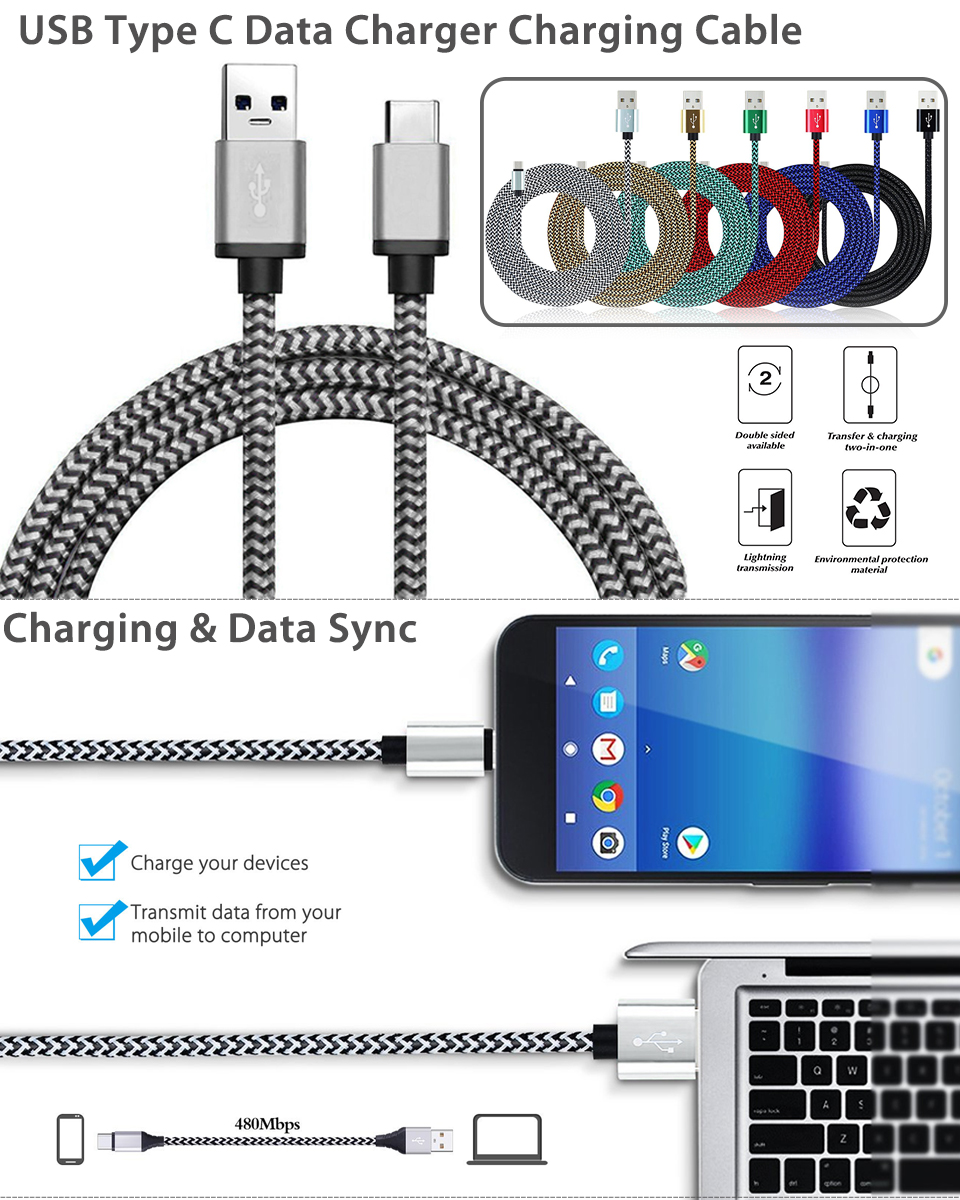 3 X 3 Ft Usb C Type C Data Sync Charger Charging Cable