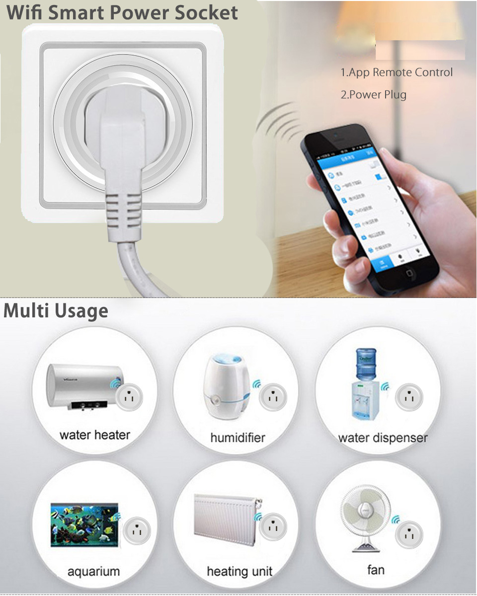 2pcs Wifi Smart Plug Mini Time Switch Power Socket Outlet