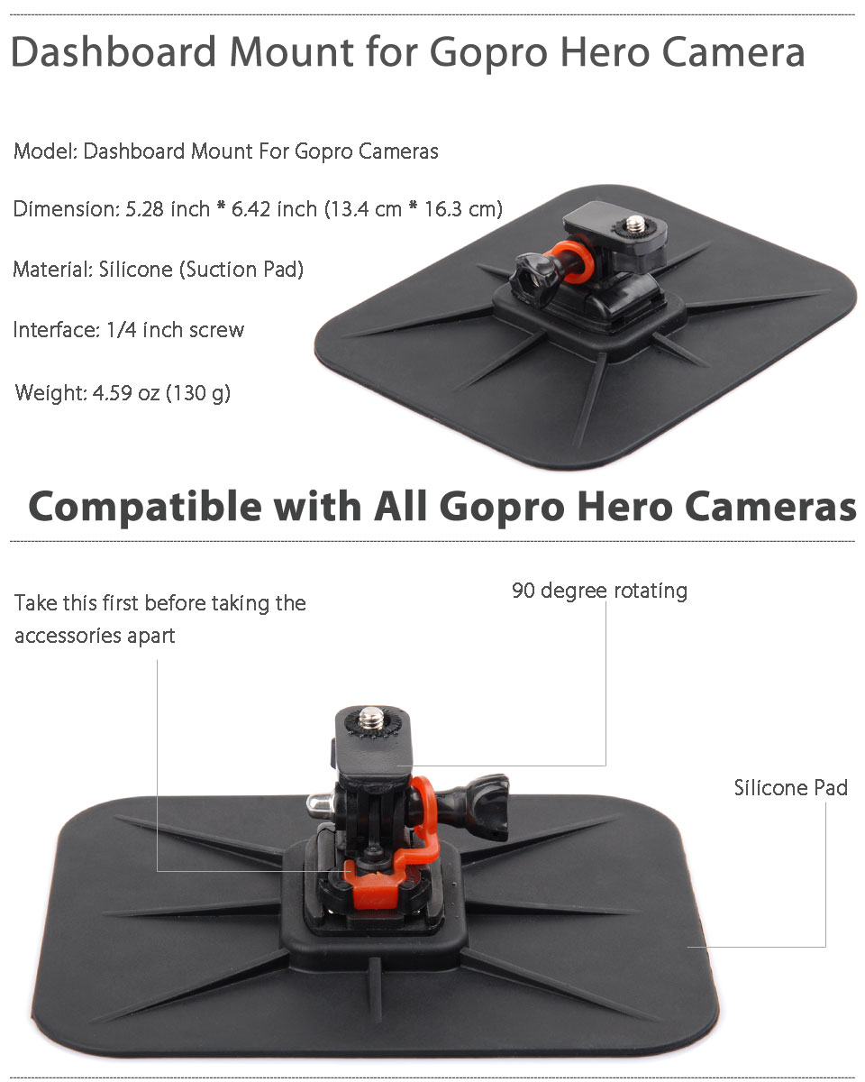 car dashboard mount suction pad adjustable holder for gopro hero 4 3 3 2 camera ebay. Black Bedroom Furniture Sets. Home Design Ideas