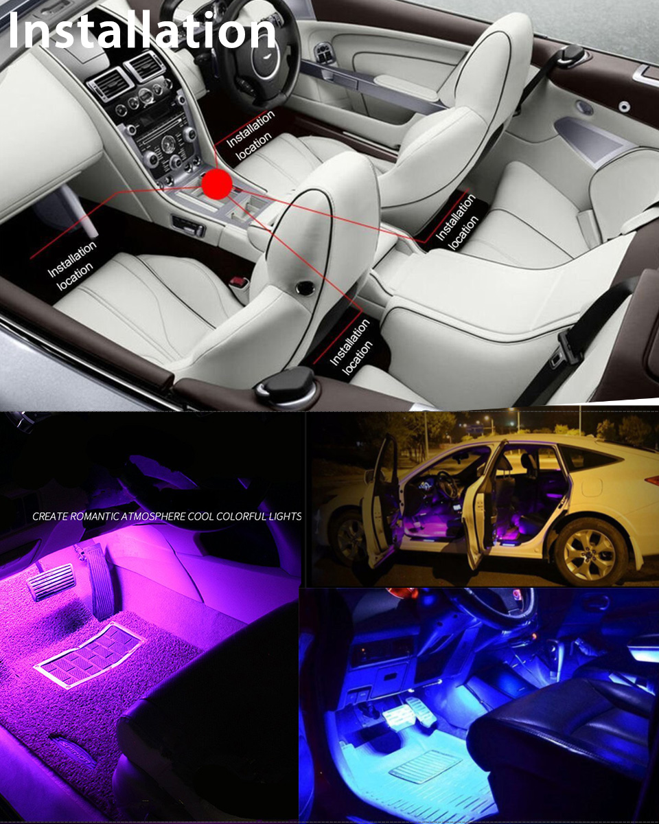 4pcs 9led Car Interior Atmosphere Neon Lights Strip Wireless Ir Remote Control 605945690585 Ebay