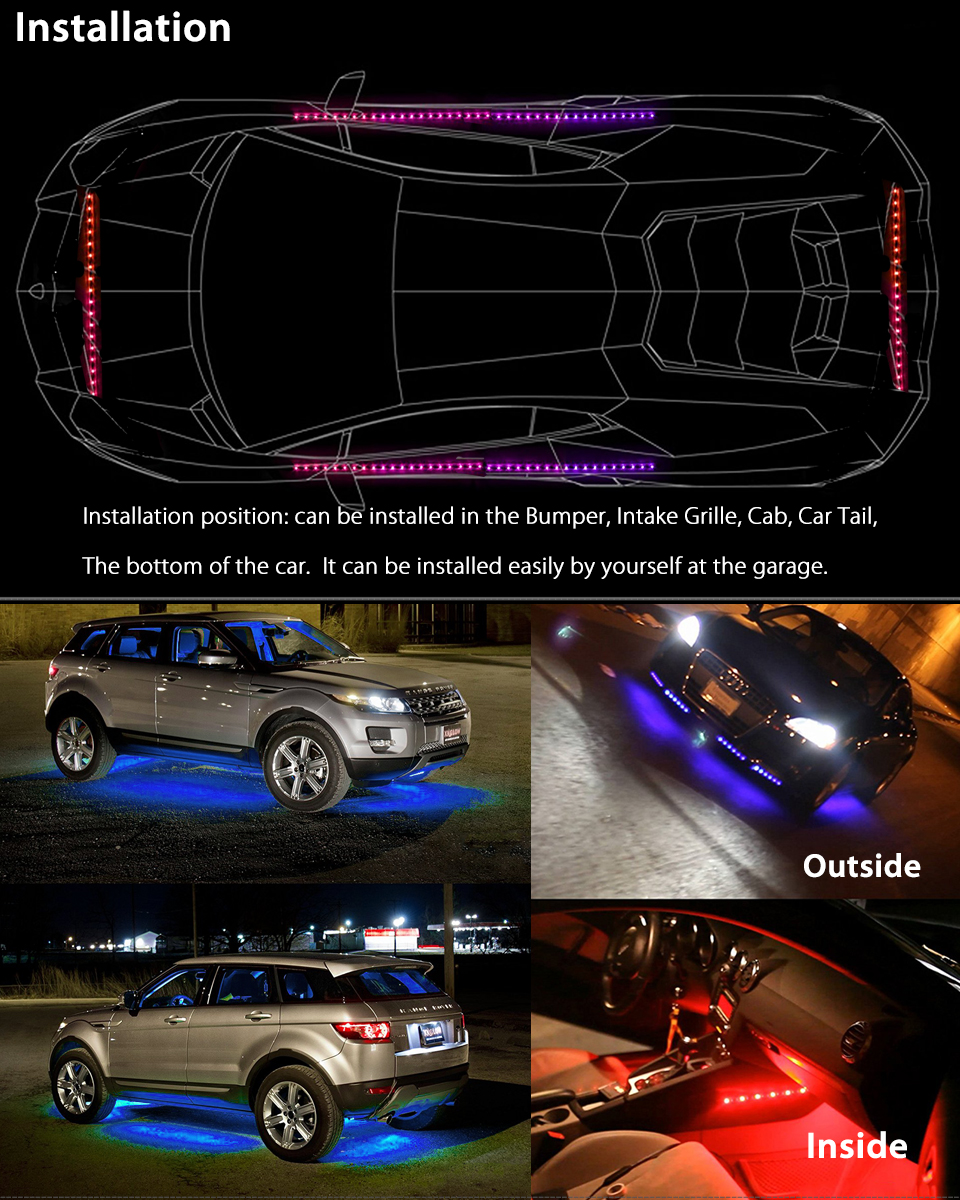 4pcs 7 color led strip under car tube underglow underbody system 7 color led strip under car tube underglow underbody system neon lights kit aloadofball Image collections